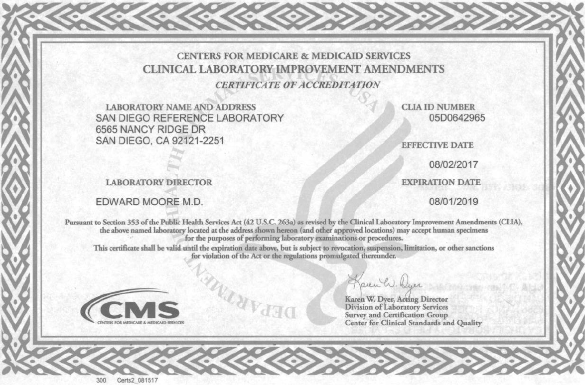 Licenses san diego reference laboratory centers for medicare and medicaid services certificate of compliance xflitez Image collections